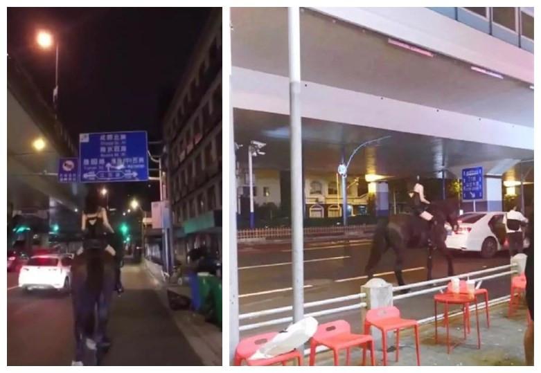 上海一女子深夜穿吊带骑马