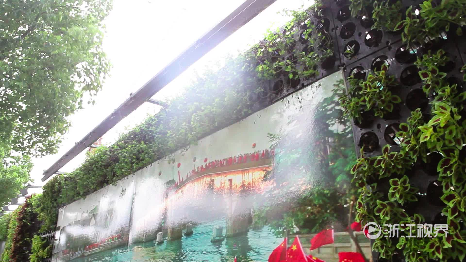 万株盆栽筑起绿色建筑围挡