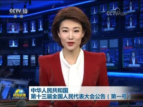 中华人民共和国第十三届全国人民代表大会公告(第一号)