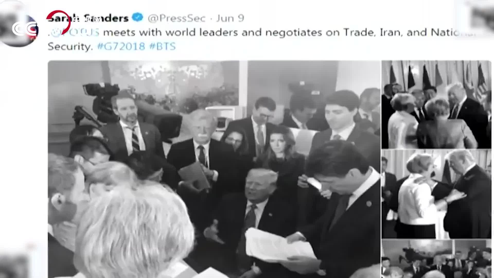 "G7峰会上的""C位暗战"":众星捧月特朗普 指点江山马克龙"