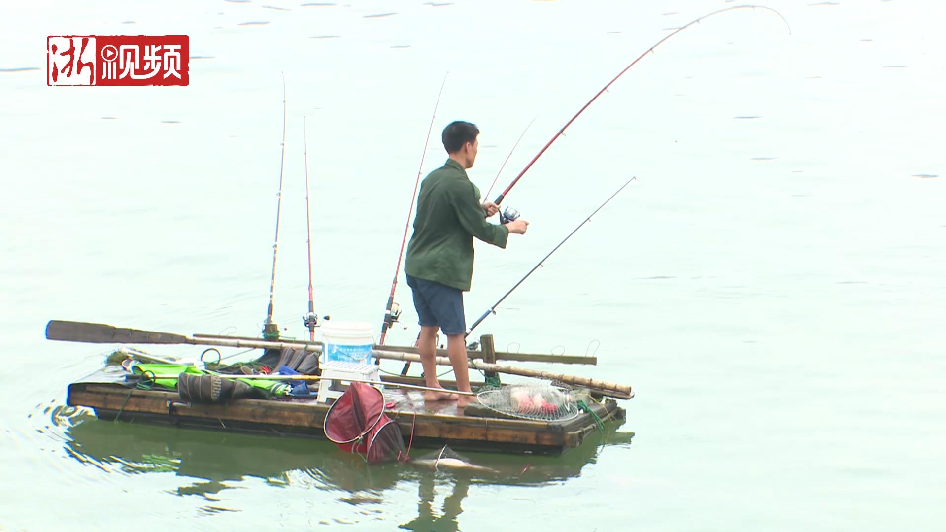 自制木排江中漂 桐庐富春江上这种奇葩钓鱼法很危险!