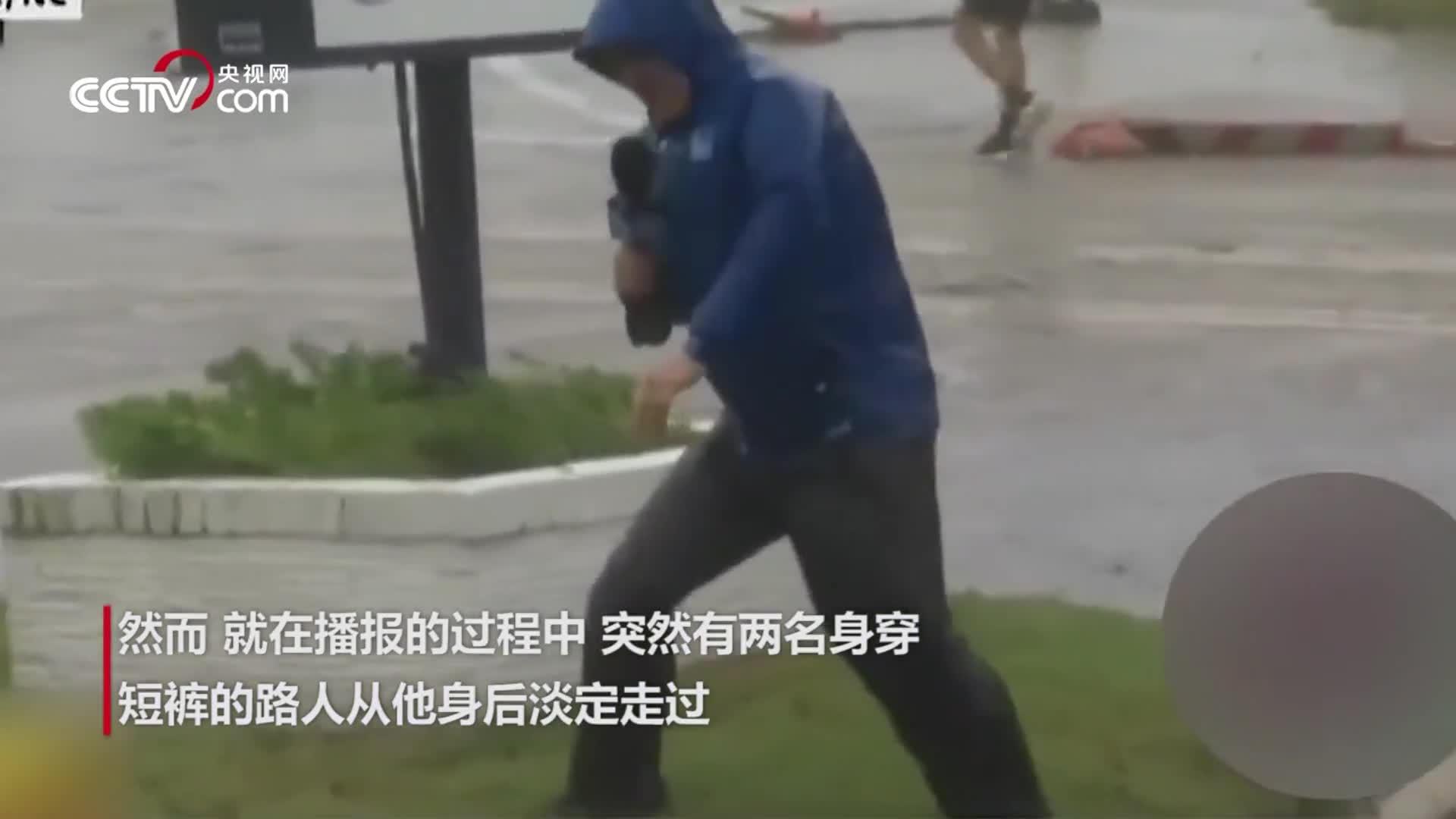 """尴尬!美记者直播飓风""""表演""""站不稳 路人淡定走过瞬间露馅"""